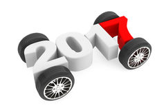 2017 Year Concept with Car Wheels. 3d Rendering Royalty Free Stock Image