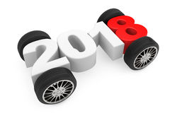 2018 Year Concept with Car Wheels. 3d Rendering Stock Photography