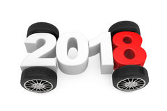 2018 Year Concept with Car Wheels. 3d Rendering Stock Images