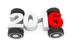 2016 year concept with car wheels. On a white background Stock Illustration