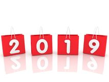 Year concept on red shopping bags. In backgrounds Royalty Free Stock Images