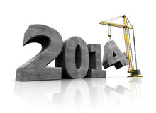 2014 year construction. Abstract 3d illustration of text 2014 and crane, over white background Royalty Free Stock Photos