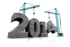 2014 year construction. Abstract 3d illustration of two cranes building text '2014', over white background royalty free illustration