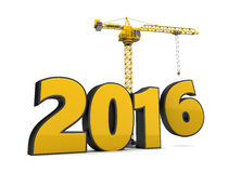 2016 year construction. 3d illustration of crane building 2016 year sign royalty free illustration