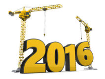 2016 year construction. 3d illustration of cranes and 2016 year sign, over white background vector illustration