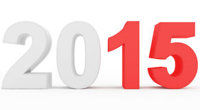 Year 2015 count. Year 2015 red marked 3d numbers isolated on white Royalty Free Stock Image