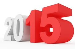 Year 2015 count. Year 2015 red marked 3d numbers  on white Stock Photo