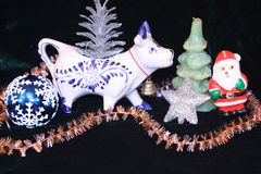 Year of cow -christmas decorations and cow Royalty Free Stock Images
