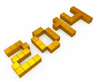 Year 2014 cubic golden Royalty Free Stock Photography