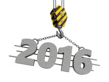 2016 year. 3d illustration of crane hook and 2016 year sign stock illustration