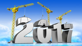 2017 year. 3d illustration of cranes building new 2017 yea, over sky background Royalty Free Stock Photo