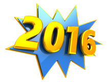 2016 year. 3d illustration of 2016 new year sign stock illustration