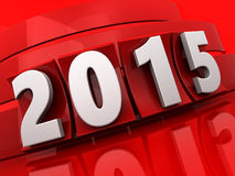 2015 year. 3d illustration of 2015 new year sign over red background Royalty Free Stock Images