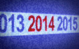 2014 Year. 3d illustration od digital display with red 2014 Year Royalty Free Stock Image
