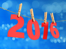 2016 year. 3d illustration of 2016 year sign and rope, over blue background stock illustration