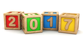 2017 year. 3d illustration of 2017 year symbol with wooden toy cubes Stock Photos