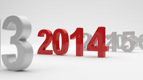 2014 year. 3d illustration of 2014 year on white background. Soft focus Royalty Free Stock Images