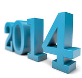 Year 2014 in 3D. 2014 Year in 3D. Light Blue color Royalty Free Stock Photos