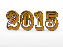 2015 year 3D numbers. 2015 year volume 3D metal gold numbers  on white background Stock Images