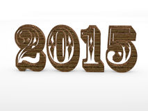 2015 year 3D numbers. 2015 year volume 3D wood planks numbers  on white background Royalty Free Stock Image