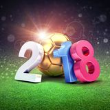 2018 soccer competition in Russia. Year date 2018, composed with a gold soccer ball shining on a stadium lawn. 2018 international soccer event. 3D illustration Royalty Free Stock Photo