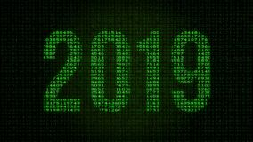 2019 year - digital data code matrix. Camera moving back from extreme close up of the monitor screen, showing year 2019 symbol vector illustration