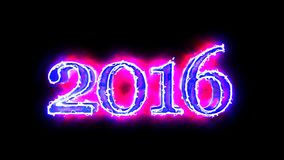 2016 year digits Blue and Red 3D animation in black background for overlay 4K video stock video footage