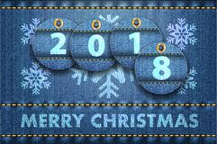 2018 year digits and Merry Christmas greetings on blue jeans background stock illustration