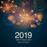 The year 2019 displayed with fireworks and strobes. New year and holidays concept. The year 2019 displayed with fireworks and strobes. New year and holidays Royalty Free Stock Photos