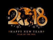 Year of the Dog 2018. Year of the Dog 2018 on the Chinese calendar. Greeting card with New Year`s design walking dog and snowflakes on a black background Royalty Free Stock Image