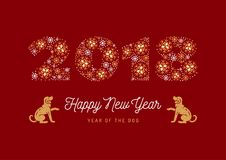 Year of The Dog, Chinese Zodiac Dog, Number 2018 made of snowflakes, Golden Dogs on a red background. Vector. Year of The Dog, Chinese Zodiac Dog, Number 2018 Royalty Free Stock Photos