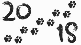 2018 year of the dog. Figures and brush in grunge style. Traces of a dog in black on a white background. Soft shadow. Vector illus Royalty Free Stock Image