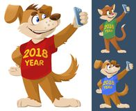 2018 year of the dog. Funny dog and cat in colorful T-shirts mak. Ing selfie. Cartoon styled vector illustration. Elements is grouped. No transparent objects. On Stock Images