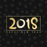 2018 year of the dog. Golden banner with text for your projects. Cover for the magazine. Painted figures. Vector illustration. EPS 8 Royalty Free Stock Image