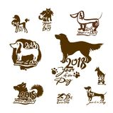 Year of the Dog 2018. Set of  templates . Year of the Dog 2018. Set of  templates for New Year`s design. New Year on the Chinese calendar Royalty Free Stock Photography