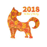 2018 Year of the DOG. Dog is a symbol of the 2018 Chinese New Year. Design for greeting cards, calendars, banners, posters, invitations Stock Images