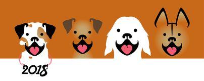 Year of the Dog 2018. Vector illustration with four smiling dogs of different breeds. Dog smiles. Vector template for the new 2018 year Stock Photography