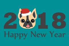Year of the Dog 2018 vector template for design of flyer, brochure, invitation, banners, calendar, greeting card. Year of the Dog 2018 vector template for design Stock Image