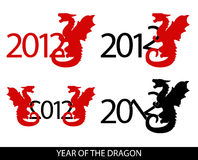 Year of the dragon. Vector image of 4 variations with year 2012 and dragon Stock Image