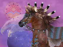 Year of the Eagle Horse. The Eagle in native American culture symbolized great strenght and power in the horse which was an important part of everyday life of royalty free illustration