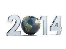 Year 2014  and Earth as zero Stock Images