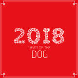 Year of the earth dog. Figures from the dog tracks. Footprints of a dog on a white background. Vector illustration in a flat style vector illustration
