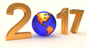 Year 2017 Earth gobe. On the white background. 3d illustration Royalty Free Stock Image