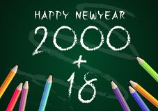 Year 2018 Education concept back to school on blackboard background. Vector Stock Photo