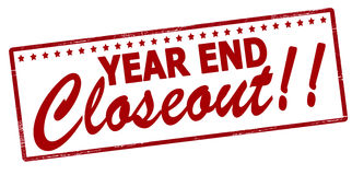 Year end closeout. Rubber stamp with text year end closeout inside, vector illustration Vector Illustration