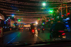 Year end and New Year's Eve celebration. Kolkata, West Bengal / India – December 31st : Year end and new year's eve celebration at night on  31st December at Royalty Free Stock Photo