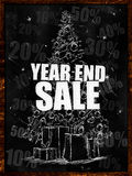 Year end sale on blackboard Royalty Free Stock Images