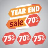 Year End Sale 70% 75% Off Discount  Tag for Marketing Retail Element Design Stock Images