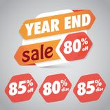 Year End Sale 80% 85% Off Discount Tag for Marketing Retail Element Design. Bla bla stock illustration