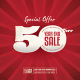 Year End Sale. 50% Off Poster with red background Royalty Free Stock Photos